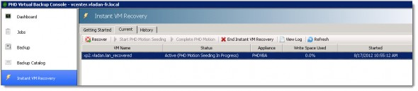 PHD Virtual Backup 6.0 - Instant VM Recovery and PHD Motion