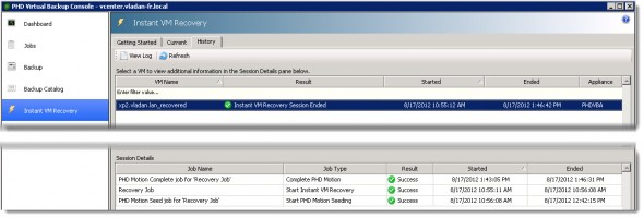 PHD Virtual Backup 6.0 - Instant VM recovery with PHD Motion