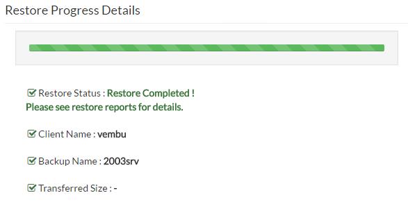 Vembu Instant VM Recovery