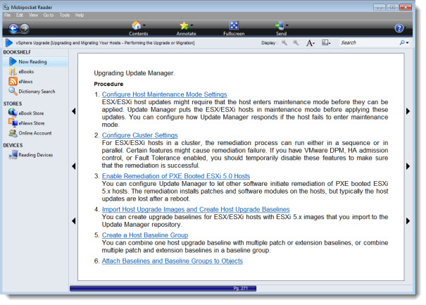 Mobipocket reader vSphere Documentation vSphere 5   The official documentation in many different formats is available now