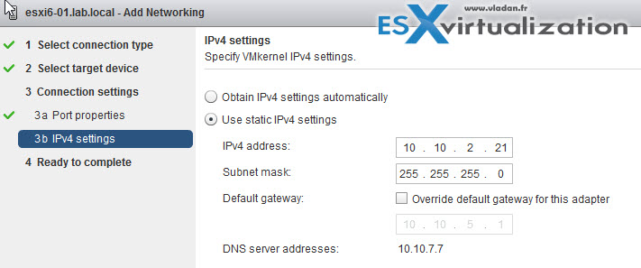 Multi-nic vMotion with VMware vSphere - IP address