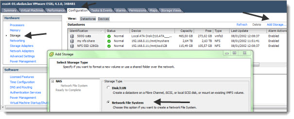 How to configure ESX host to access NFS storage VMware vSphere