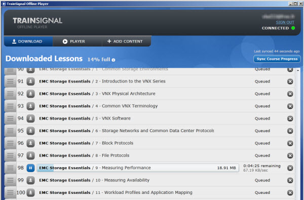 Offline player New training   EMC Storage Essentials. Havent tried TrainSignal yet?