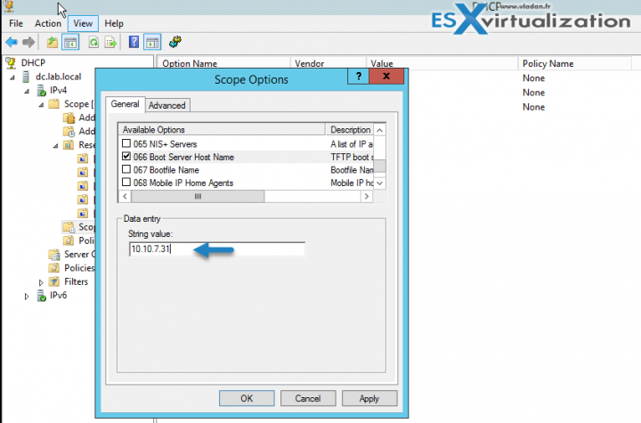 Option 066 TFTP Server for AutoDeploy vSphere 6.5 is here