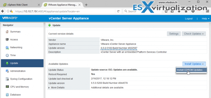 Patch VCSA 6.5 via ISO