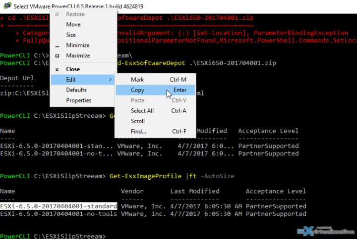 PowerCLI window copy