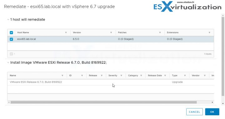 Upgrade ESXi 6.x to 6.7 via VUM