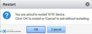 VMware Mirage Restart Endpoint - Restart confirm