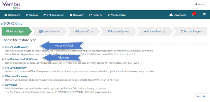 Restore VMware vSphere with Vembu BDR - Choose the hypervisor