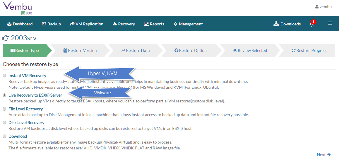 Vembu Backup and Disaster Recovery (BDR) Product Review | ESX