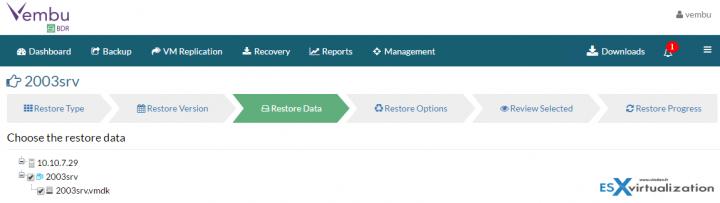 Restore VMware vSphere with Vembu BDR - Chose the restore data