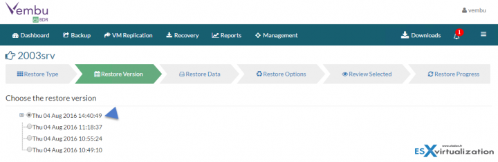 Restore VMware vSphere with Vembu BDR - pick a restore point