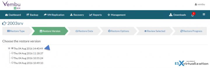 Restore VMware vSphere with Vembu BDR - pick a restore point