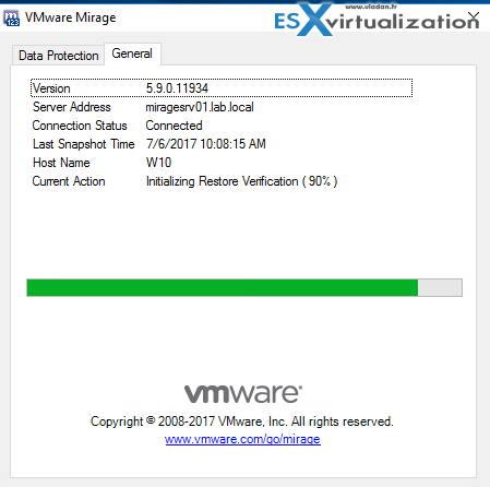 VMware Mirage Restore verification