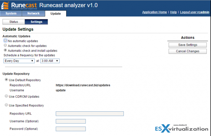 Runecast Analyzer - VAMI interface of the appliance