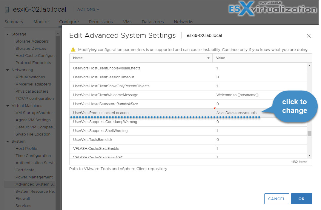 Configure VMware Tools Update from Shared ProductLocker