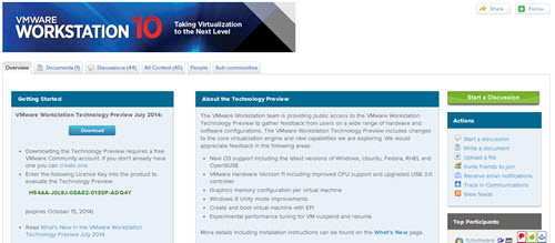 VMware Workstation Tech Preview June 2014