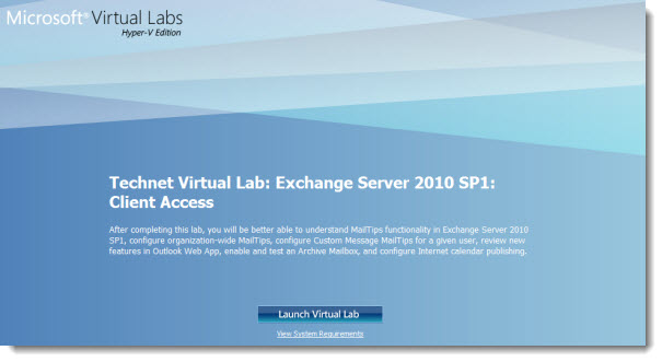 Microsoft Technet Virtual Labs - Free for anyone with Windows and Internet Explorer