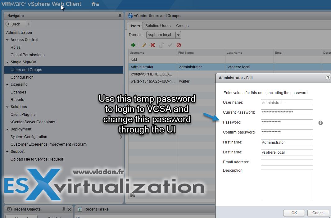 How to reset Single Sign-On (SSO) password in vSphere | ESX