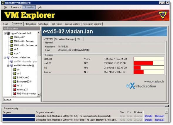 Trilead VM Explorer 4.0 - Hyper-V and VMware backups from the single pane of glass