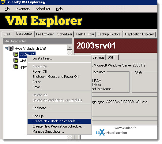 Trilead VM Explorer 4.0 - VMware vSphere and Microsoft Hyper-V backups - creating first backup job