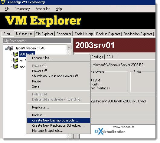 Trilead VM Explorer 4.0 - VMware vSphere and Microsoft Hyper-V backups - creating first backup job