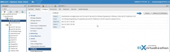 VCP6.5-DCV Objective 1.3 - Certificate management via web client