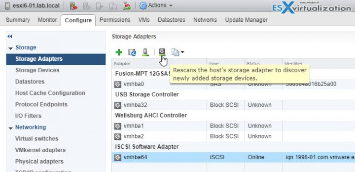 VCP6.5-DCV Rescan storage adapter