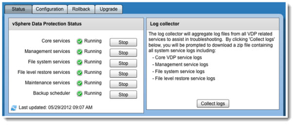 """vSphere Data Protection - VDP - configure is in """"maintenance mode"""""""