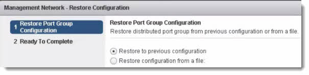 VDS restore config VMware vSphere 5.1 Networking Backup and Restore Video