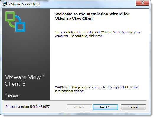 VMware View - Installation of VMware view client software on my laptop