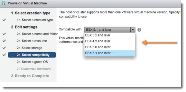 VM compatibility VMware vSphere 5.1   Virtual Hardware Version 9