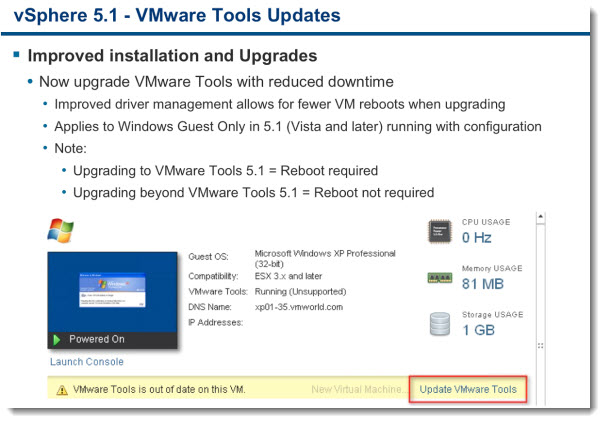 VM compatibility6 VMware vSphere 5.1   Virtual Hardware Version 9