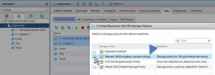 VMware vSphere 6.5 - VM encryption - Apply policy to some VMs
