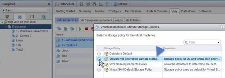 VMware vSphere 6.5 - VM encryption - Apply policy to some VMs