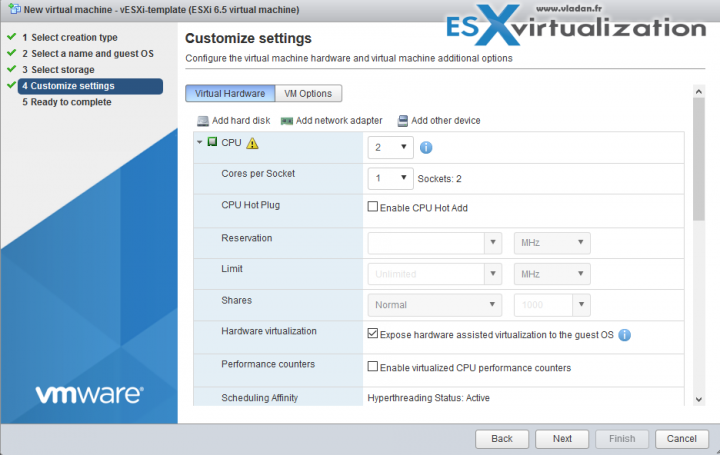 VM settings for VMware ESXi 6.5 nested template