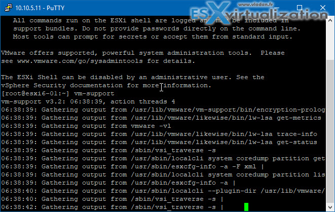 Collect logs for ESXi with VM support command