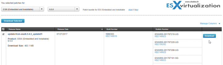 VMware ESXi 6.5U1 Patches