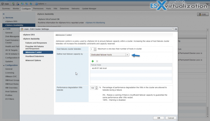 VMware HA Admission Control - Dedicated failover host