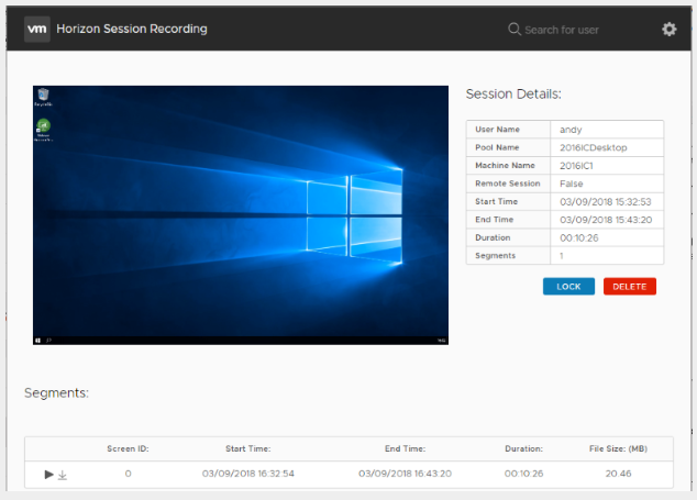 VMware Horizon Session Recording