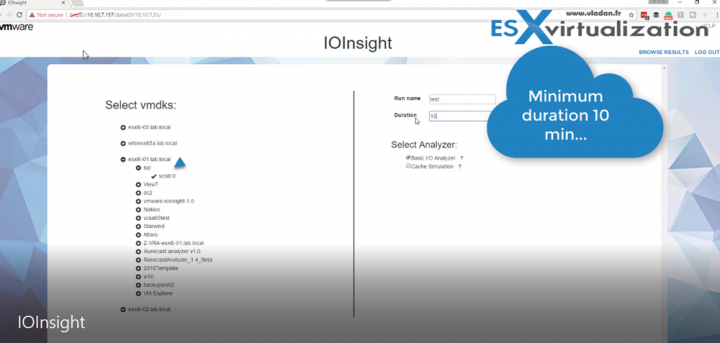 VMware IOInsight Selection of VM and Disk