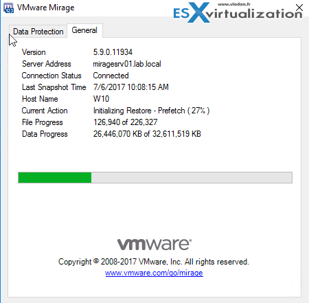VMware Mirage client progress window