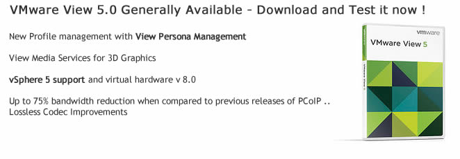 VMware View 5.0 GA and available for download