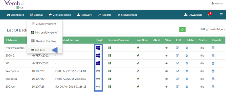 VMware and Microsoft Backup management within the same console