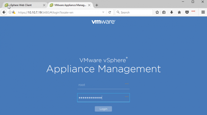 VMware vCSA WAMI Interface connection