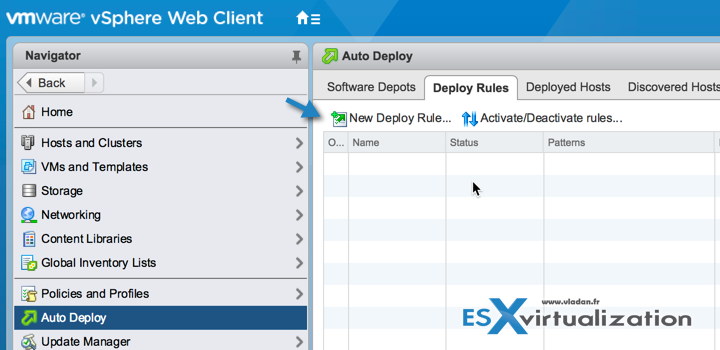 VMware vSphere 6.5 AutoDeploy and Deploy Rules Button