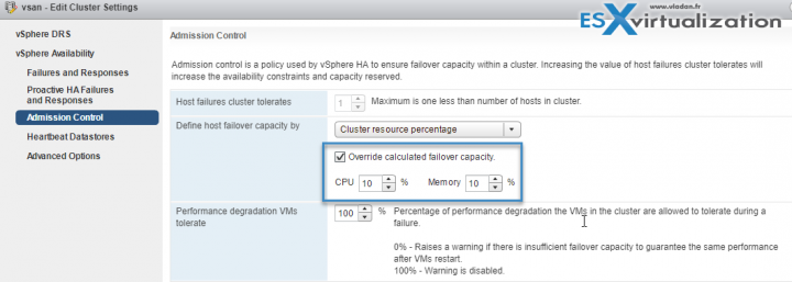 VMware vSphere - Override calculated failover capacity