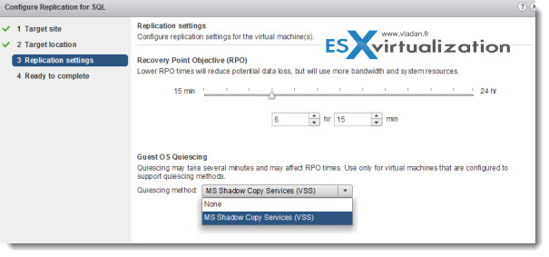 VMware vSphere 5.1 Replication Configuration Screen