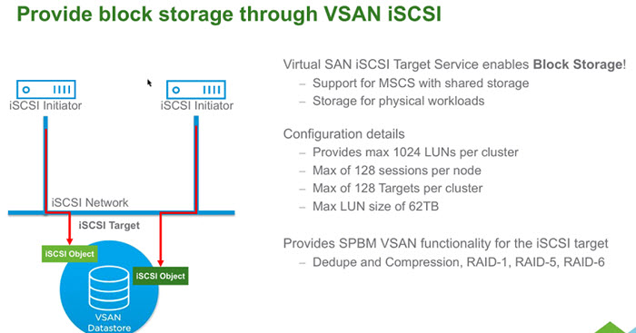 VMware VSAN 6.5 and iSCSI support