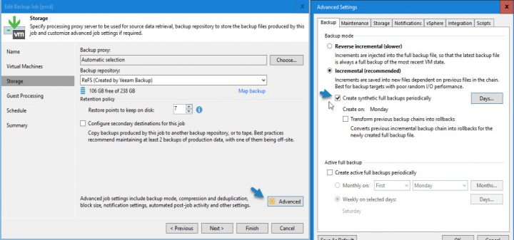 Veeam Advanced Backup Job settings for ReFS